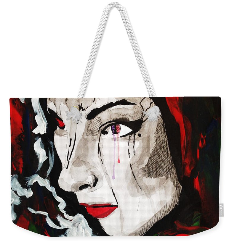 Art Weekender Tote Bag featuring the painting Woman In Red by Santiago Acosta