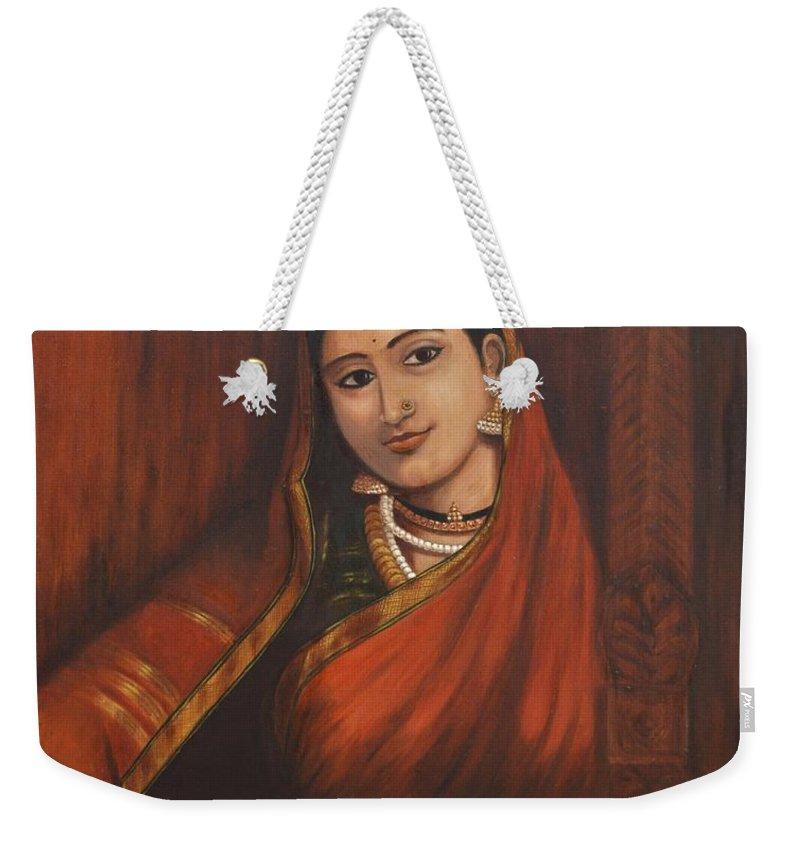 Woman Weekender Tote Bag featuring the painting Woman In Saree - After Raja Ravi Varma by Usha Shantharam