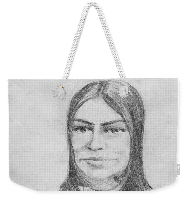 Anthony Van Dyk Weekender Tote Bag featuring the drawing Woman In Turtle Neck Sweater by Anthony Vandyk