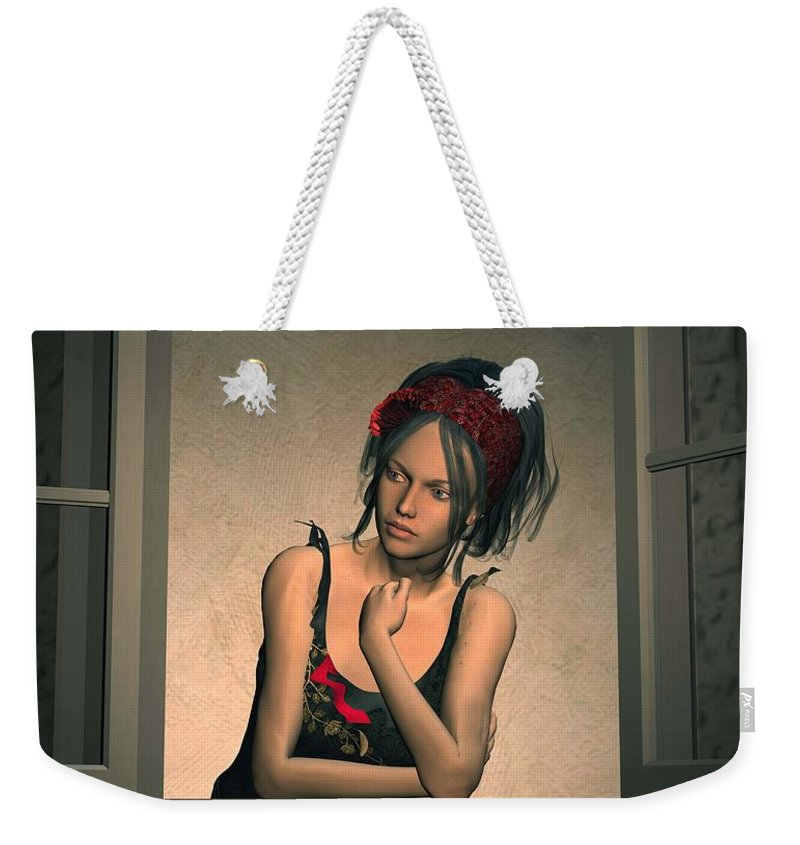 Woman Weekender Tote Bag featuring the digital art Woman Looking Out Of A Window by John Junek
