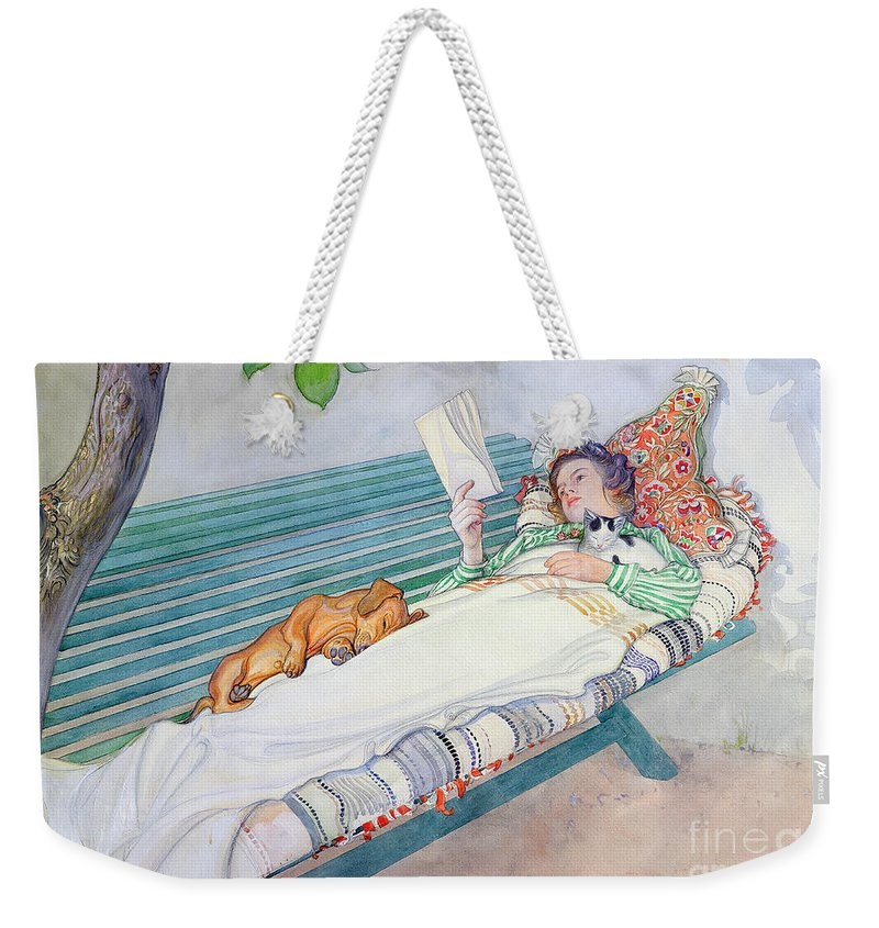 Woman Weekender Tote Bag featuring the painting Woman Lying on a Bench by Carl Larsson