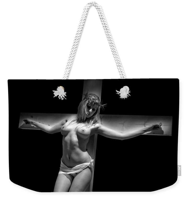 Glamour Weekender Tote Bag featuring the photograph Woman On Cross by Ramon Martinez
