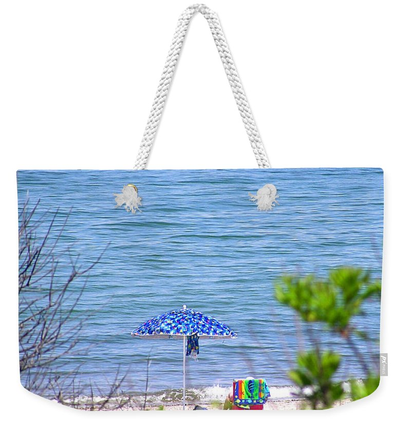 Beachgoer Weekender Tote Bag featuring the photograph Woman On The Beach by Charles Harden