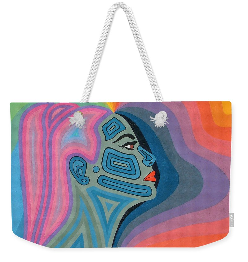 Oil Weekender Tote Bag featuring the painting Woman by Peter Antos