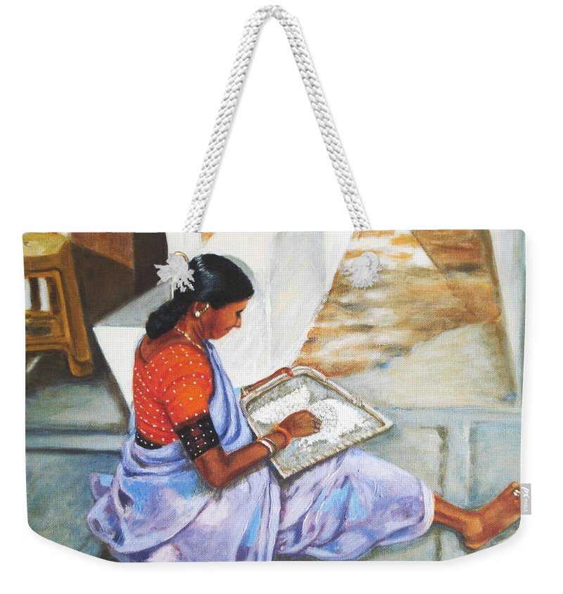 Usha Weekender Tote Bag featuring the painting Woman Picking Rice by Usha Shantharam