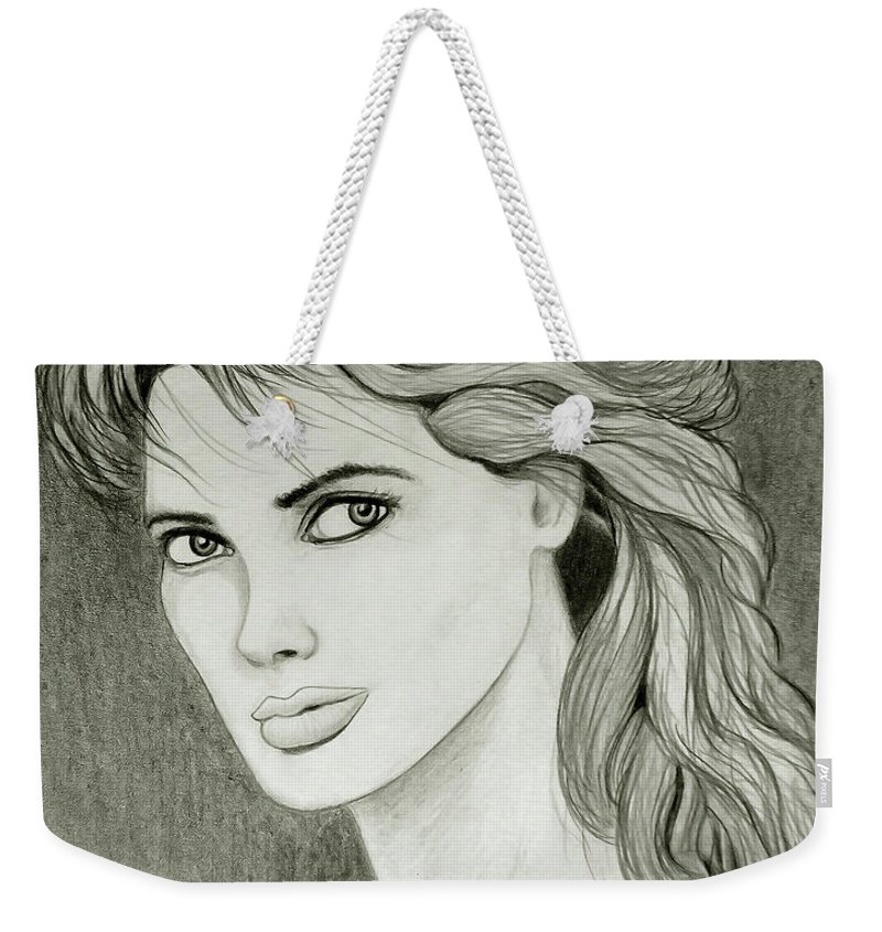 Woman Weekender Tote Bag featuring the drawing Woman Portrait by Nicola Fusco