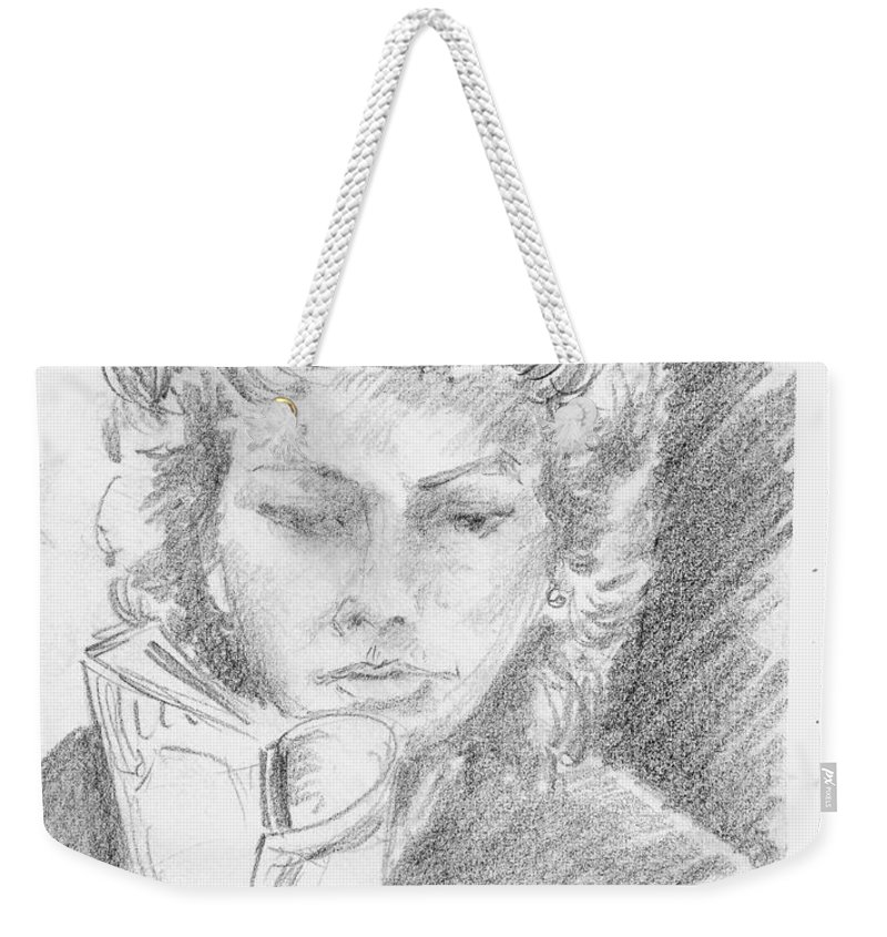 Anthony Van Dyk Weekender Tote Bag featuring the drawing Woman Reading A Book by Anthony Vandyk