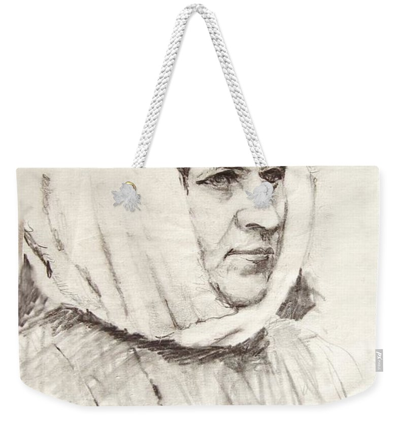 Ice Weekender Tote Bag featuring the photograph Woman by Ron Bissett