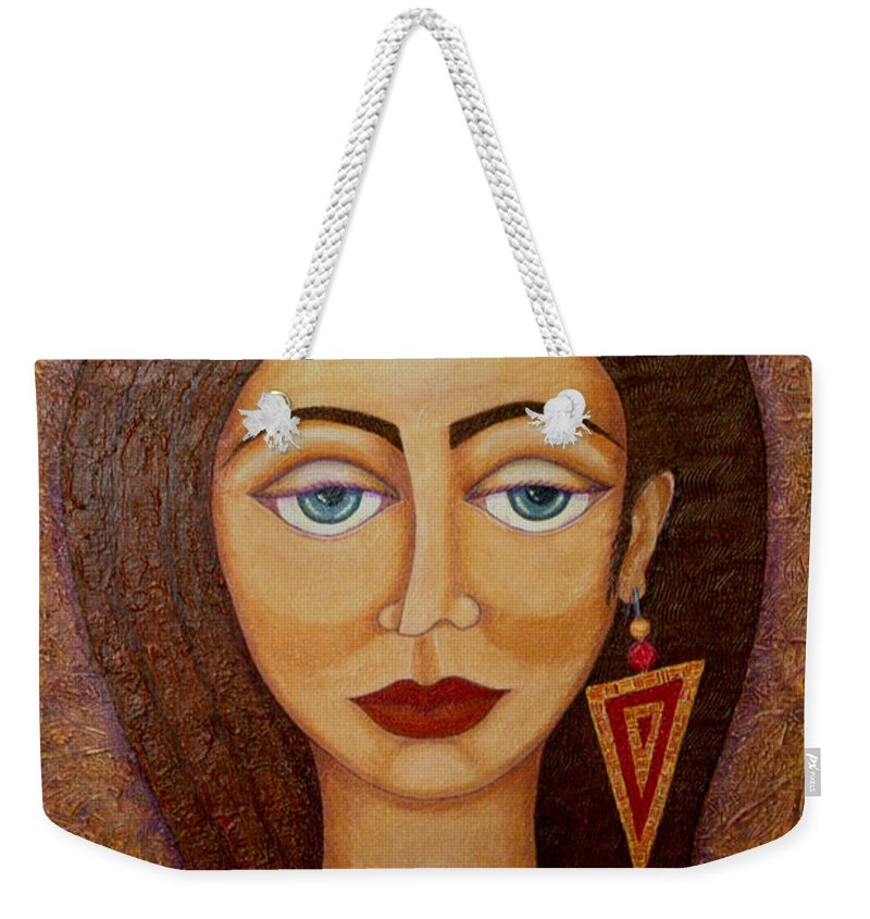 Market Weekender Tote Bag featuring the painting Woman S Market by Madalena Lobao-Tello