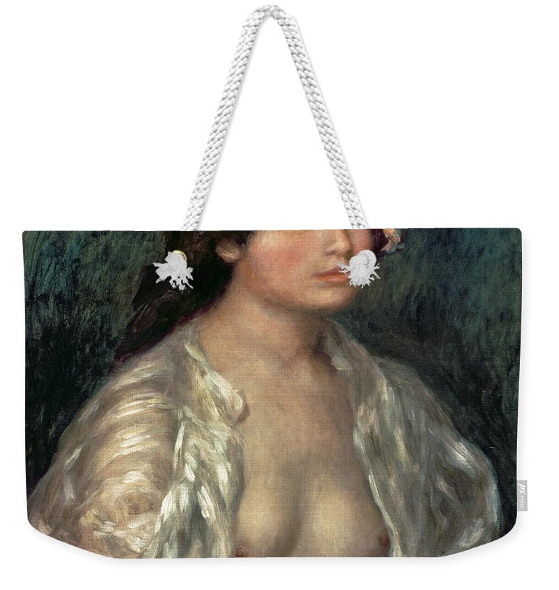 Nude Weekender Tote Bag featuring the painting Woman Semi Nude by Pierre Auguste Renoir