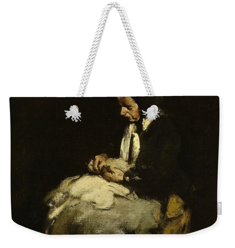 Woman Sewing Weekender Tote Bag featuring the painting Woman Sewing by MotionAge Designs