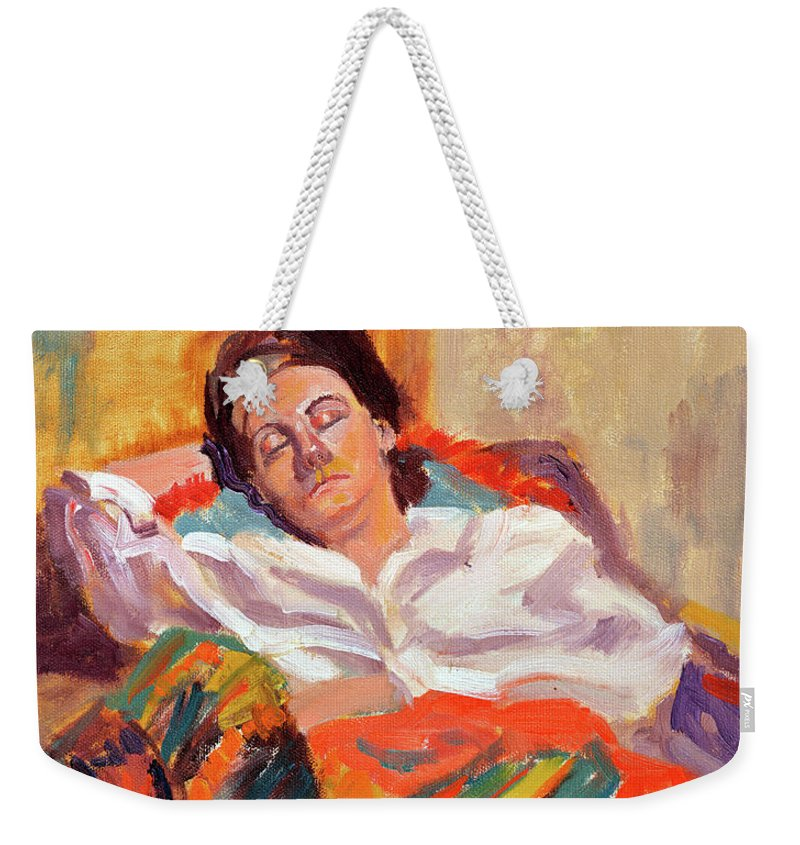 Portrait Weekender Tote Bag featuring the painting Woman Sleeping by Keith Burgess