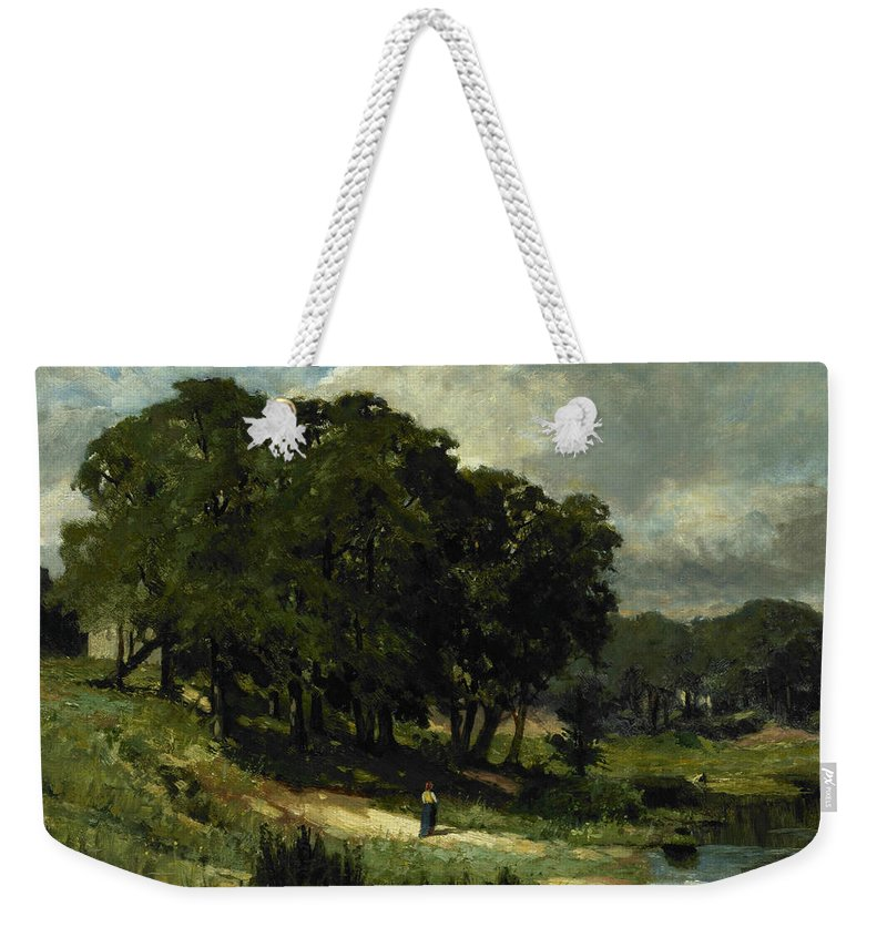 American Artist Weekender Tote Bag featuring the painting Woman Standing Near A Pond by Edward Mitchell Bannister