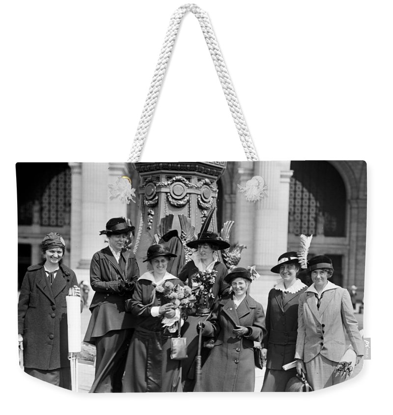 womans Suffrage Weekender Tote Bag featuring the photograph Woman Suffrage - Political Campaign Rose Winslow - Lucy Burns - Doris Stevens - Ruth Astor Noyes Etc by International Images