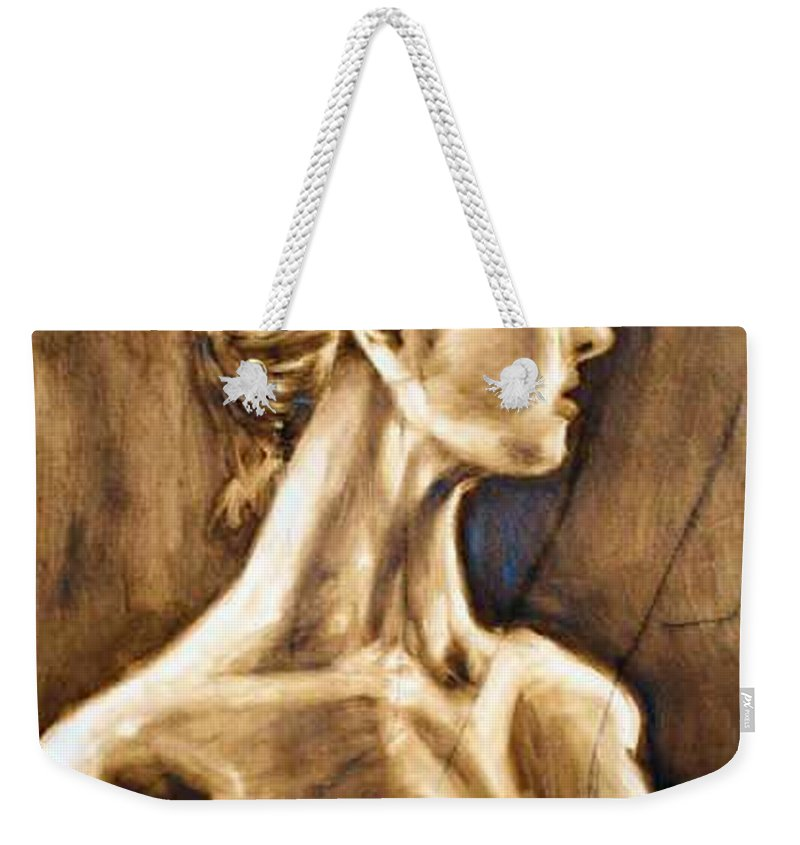 Weekender Tote Bag featuring the painting Woman by Thomas Valentine