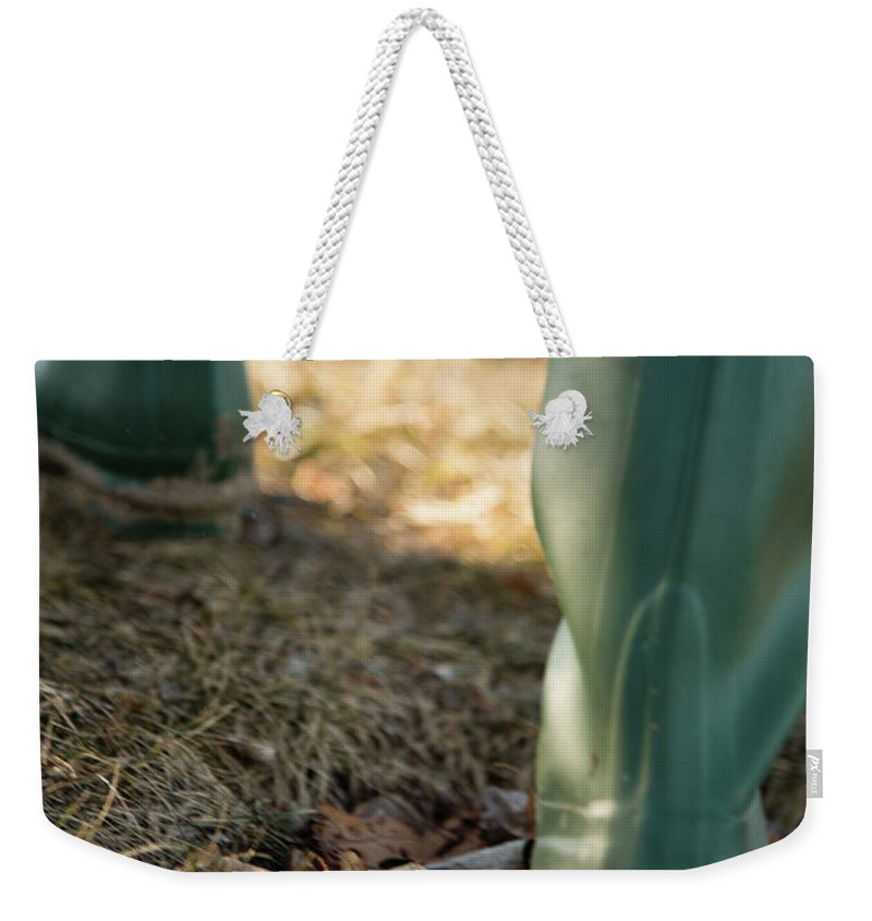 Adventure Weekender Tote Bag featuring the photograph Woman Walking In Field In Green Boots by David Prahl