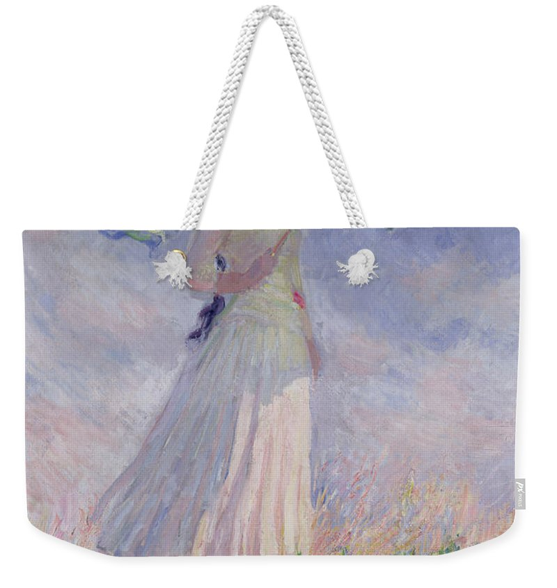 Woman Weekender Tote Bag featuring the painting Woman with a Parasol turned to the Right by Claude Monet