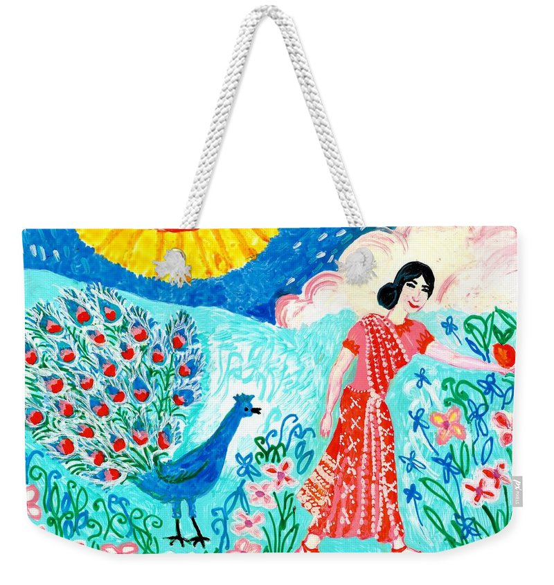 Sue Burgess Weekender Tote Bag featuring the painting Woman With Apple And Peacock by Sushila Burgess