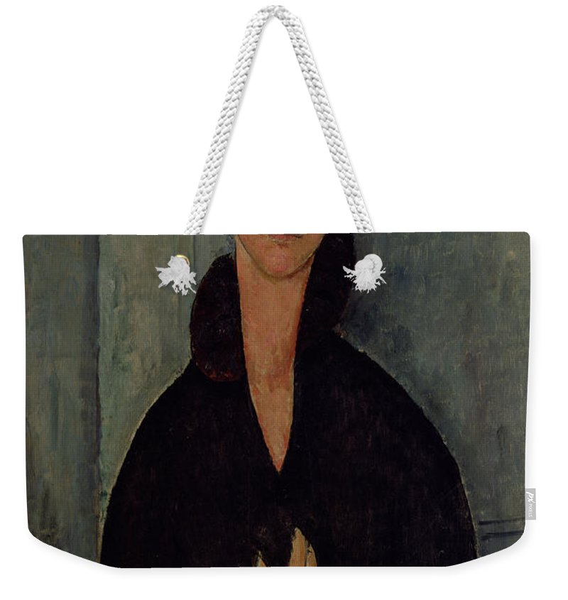 Woman Weekender Tote Bag featuring the painting Woman With Blue Eyes by Amedeo Modigliani