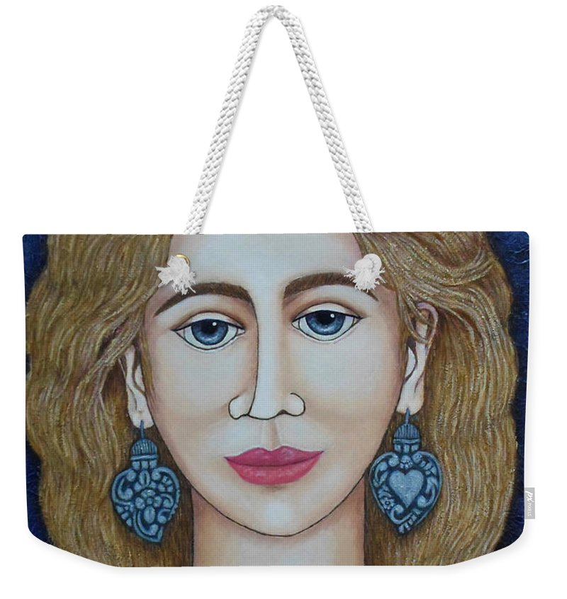 Woman Weekender Tote Bag featuring the painting Woman With Silver Earrings by Madalena Lobao-Tello
