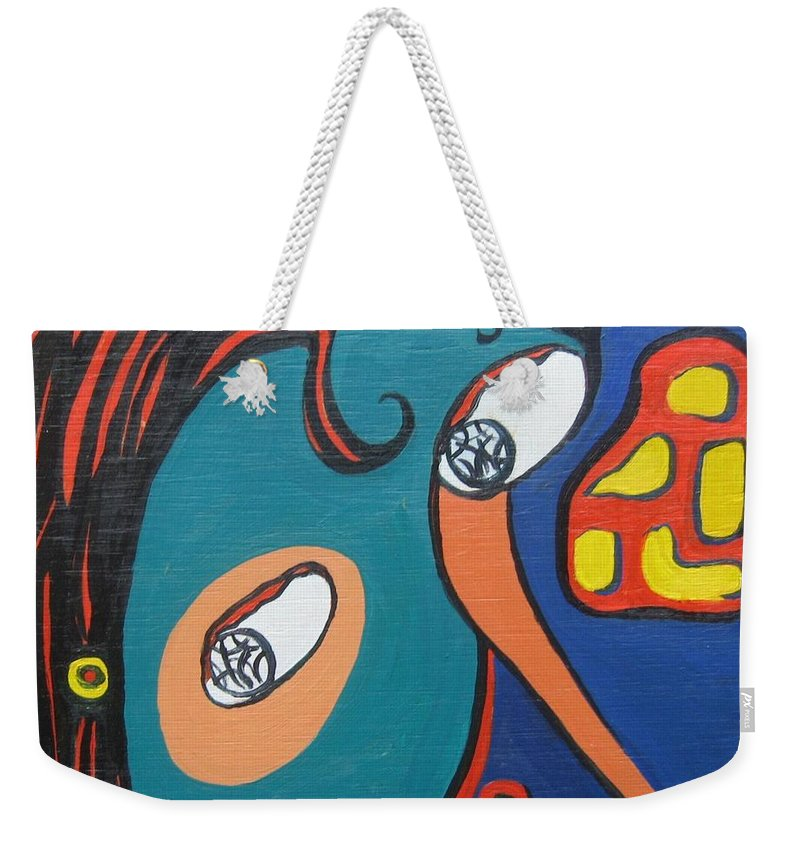 Abstract Paintings Weekender Tote Bag featuring the painting Woman12 by Seon-Jeong Kim