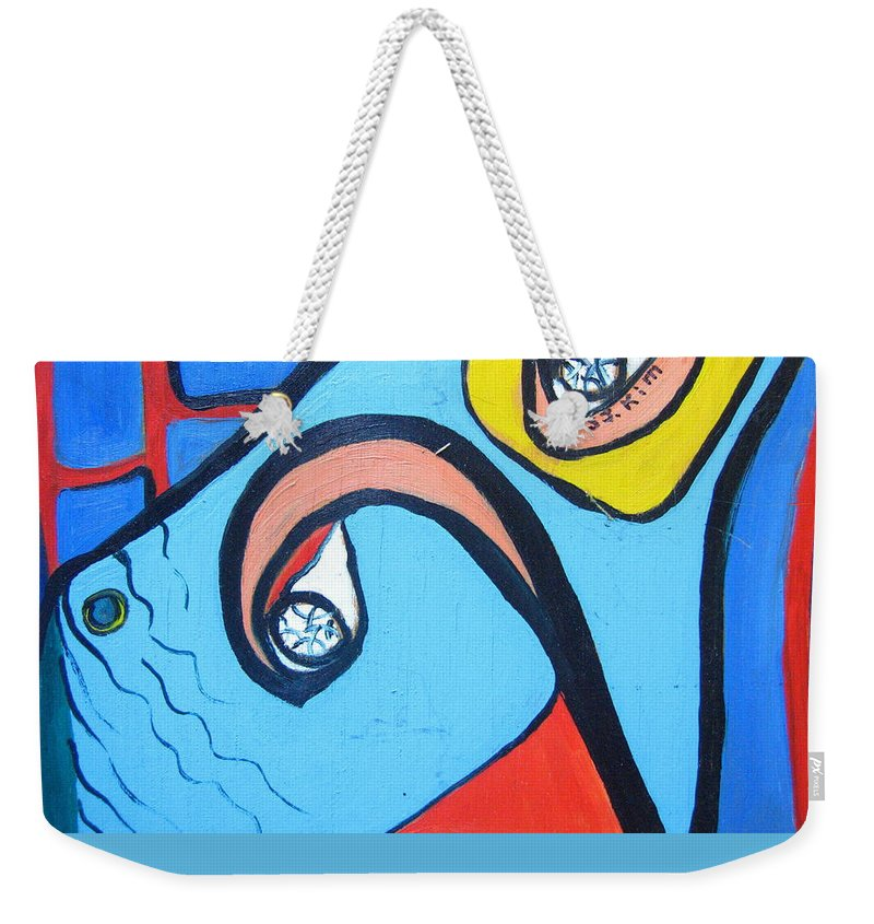 Woman Paintings Weekender Tote Bag featuring the painting Woman13 by Seon-Jeong Kim