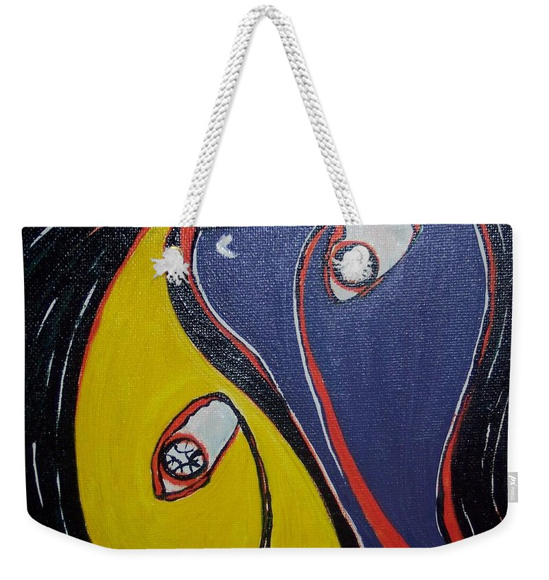 Yellow Paintings Weekender Tote Bag featuring the painting Woman21 by Seon-Jeong Kim