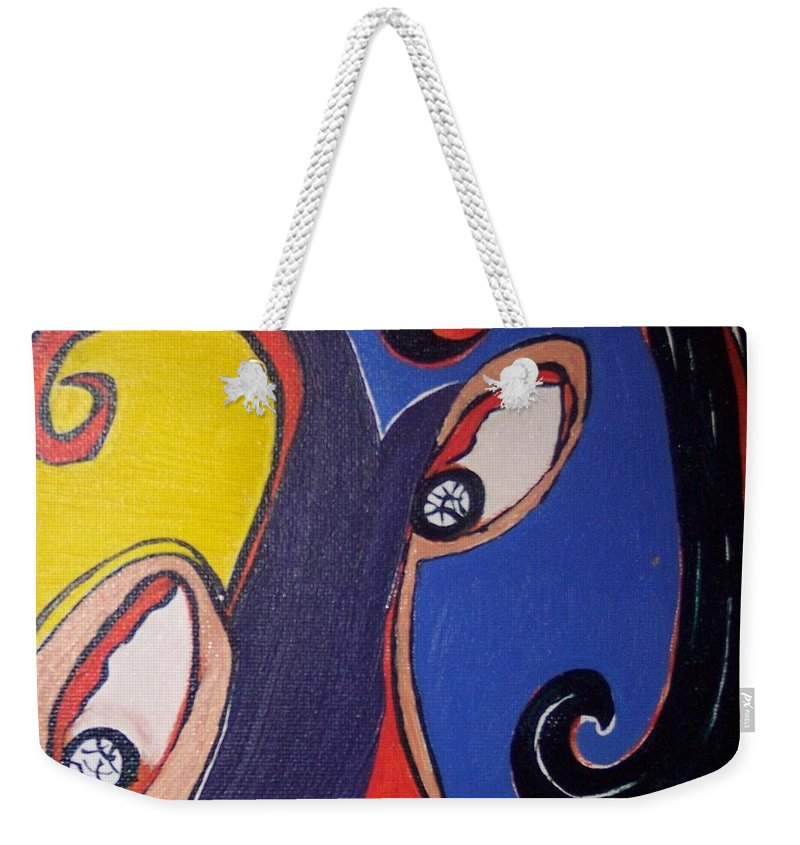 Abstract Paintings Weekender Tote Bag featuring the painting Woman30 by Seon-Jeong Kim