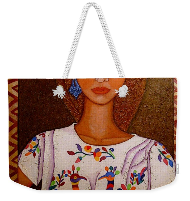 Woman Weekender Tote Bag featuring the painting Women Below And Beyond The Sea by Madalena Lobao-Tello