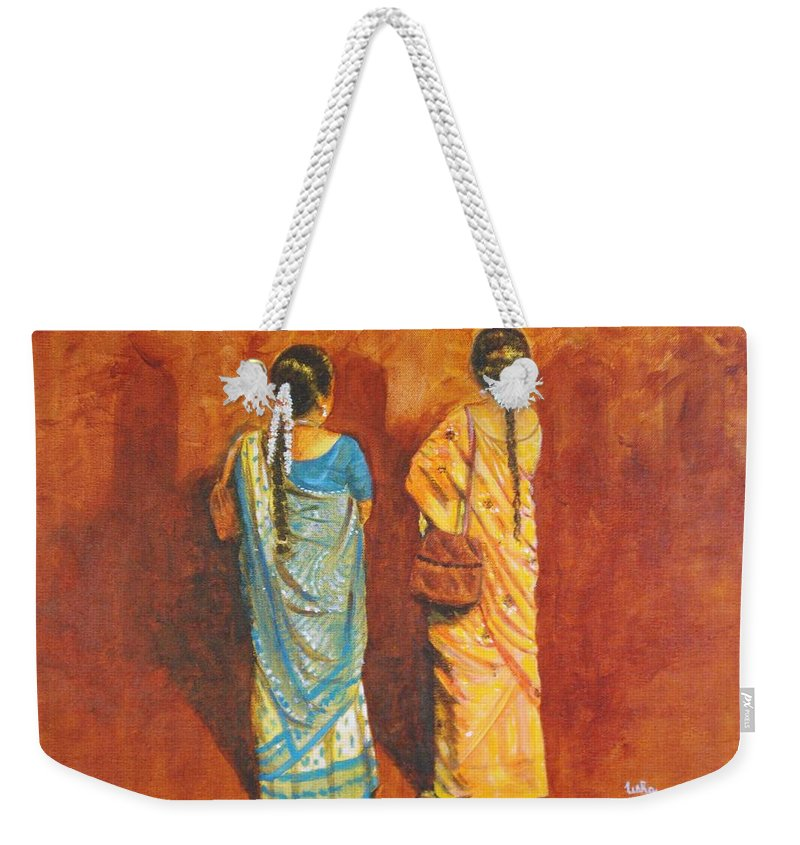 Women Weekender Tote Bag featuring the painting Women In Sarees by Usha Shantharam