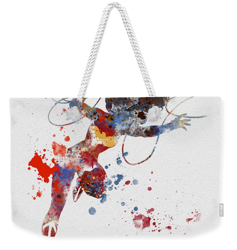 Wonder Woman Weekender Tote Bag featuring the mixed media Wonder Woman by My Inspiration