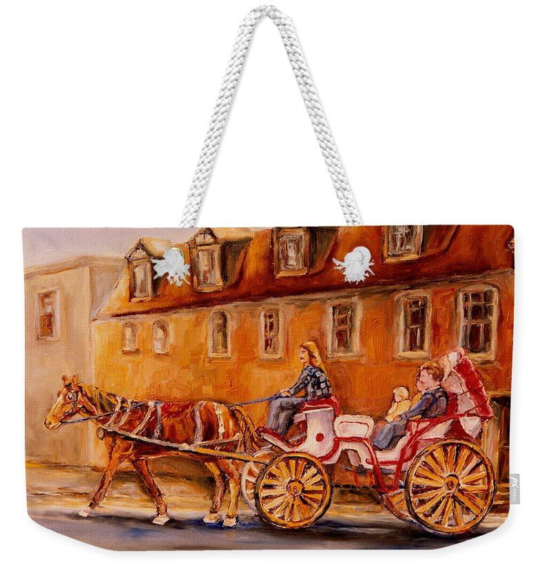 Quebec City Weekender Tote Bag featuring the painting Wonderful Carriage Ride by Carole Spandau