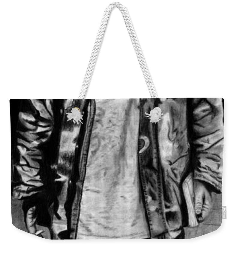 Wondering Soldier Weekender Tote Bag featuring the drawing Wondering Soldier by Peter Piatt
