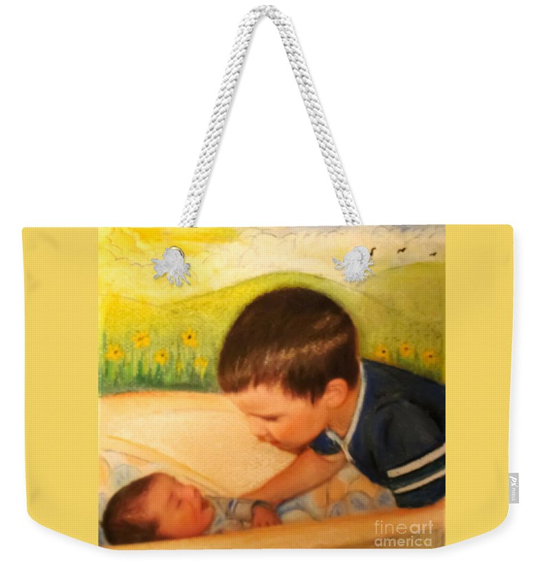 Child Weekender Tote Bag featuring the painting Wonderment by Hazel Holland