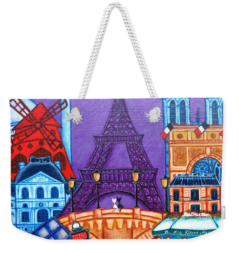 Paris Weekender Tote Bag featuring the painting Wonders Of Paris by Lisa Lorenz