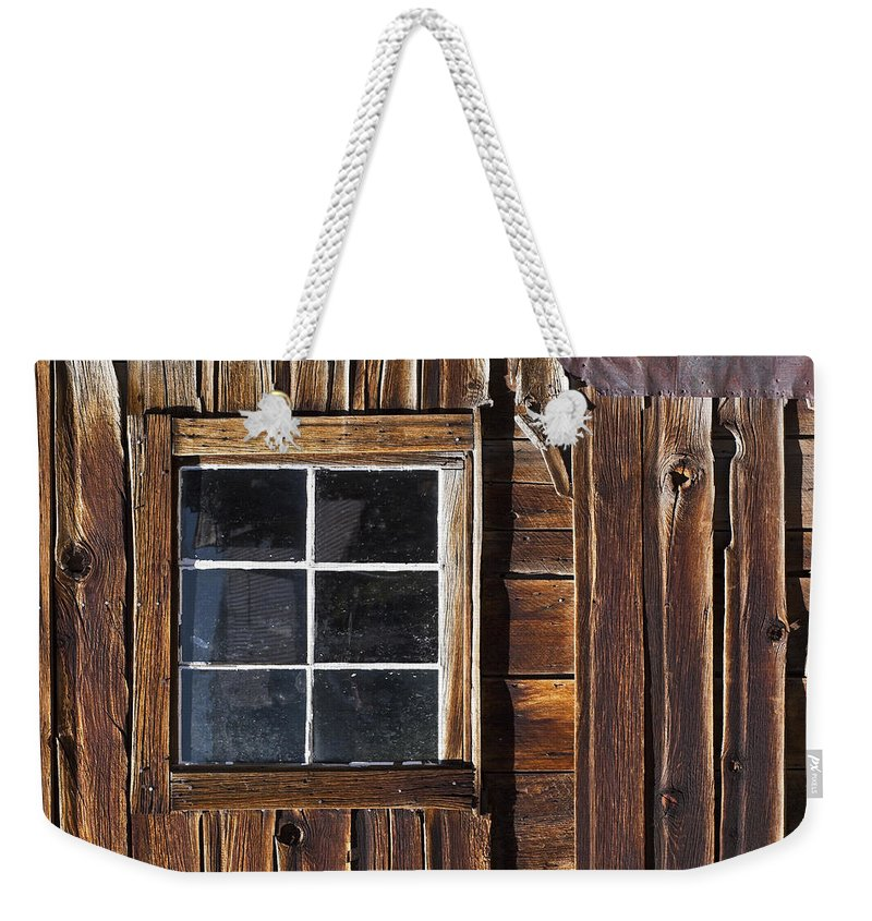 Bodie Ghost Town Weekender Tote Bag featuring the photograph Wood And Window by Kelley King