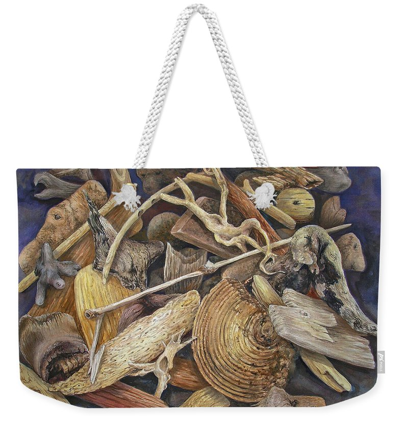 Driftwood Weekender Tote Bag featuring the painting Wood Creatures by Valerie Meotti
