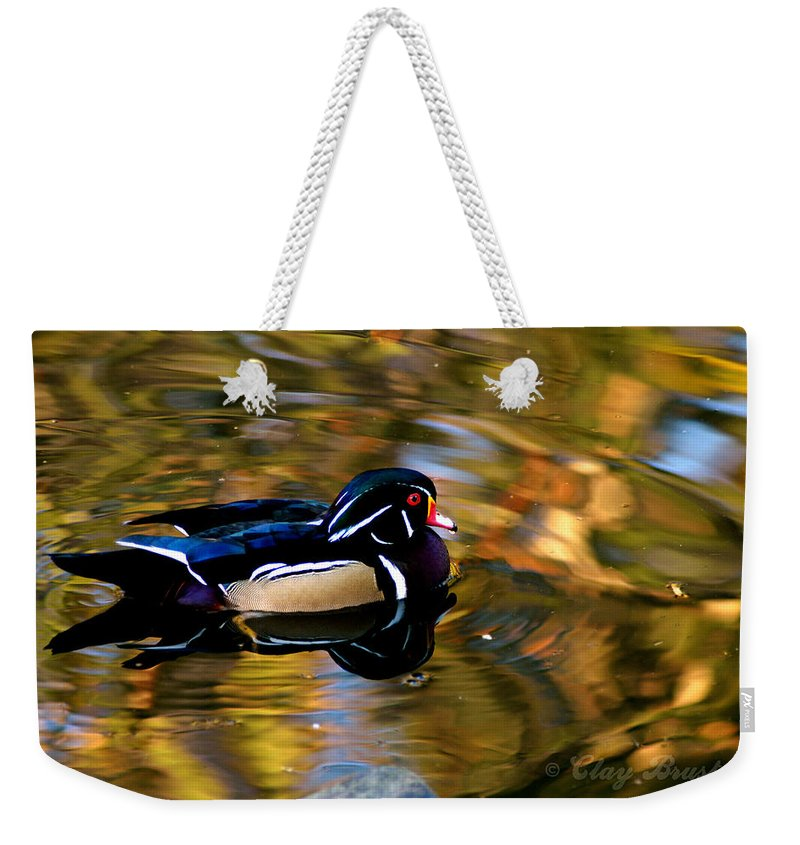 Clay Weekender Tote Bag featuring the photograph Wood Duck by Clayton Bruster
