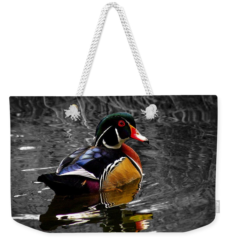 Jean Noren Weekender Tote Bag featuring the photograph Wood Duck Drake by Jean Noren