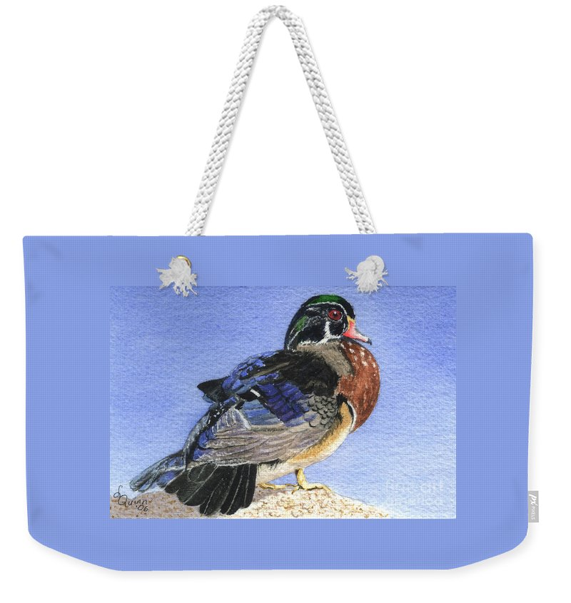Duck Weekender Tote Bag featuring the painting Wood Duck by Lynn Quinn
