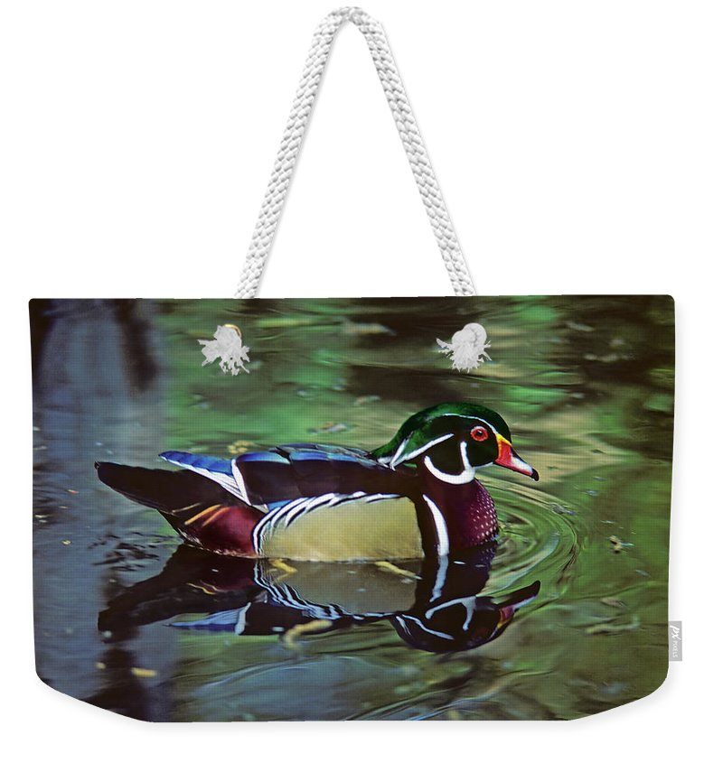 Wood Duck Weekender Tote Bag featuring the photograph Wood Duck by Marie Hicks