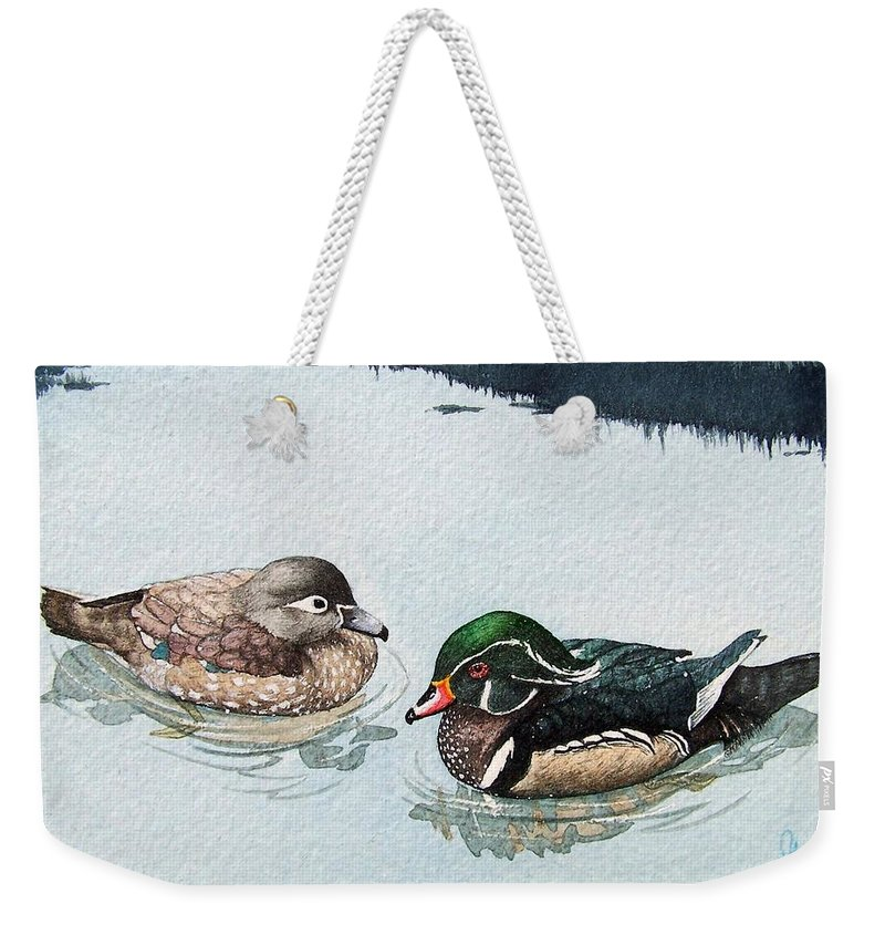 Ducks Weekender Tote Bag featuring the painting Wood Ducks by Gale Cochran-Smith