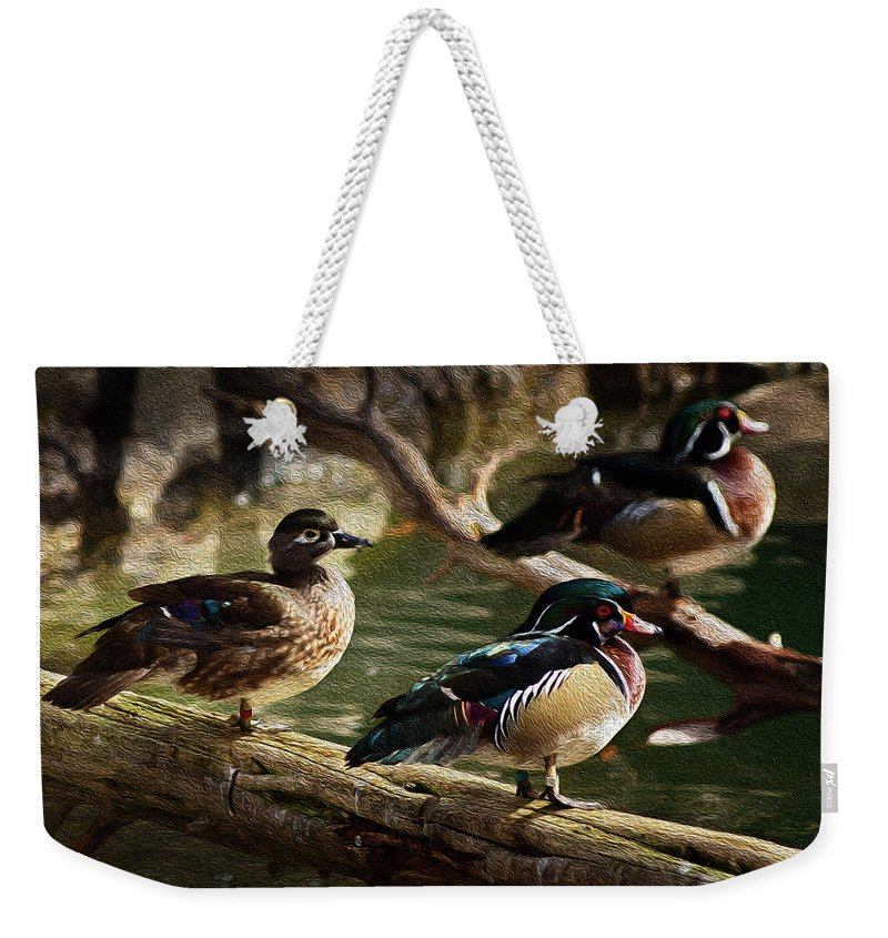 Animals Weekender Tote Bag featuring the photograph Wood Ducks Posing On A Log by Dennis Dame