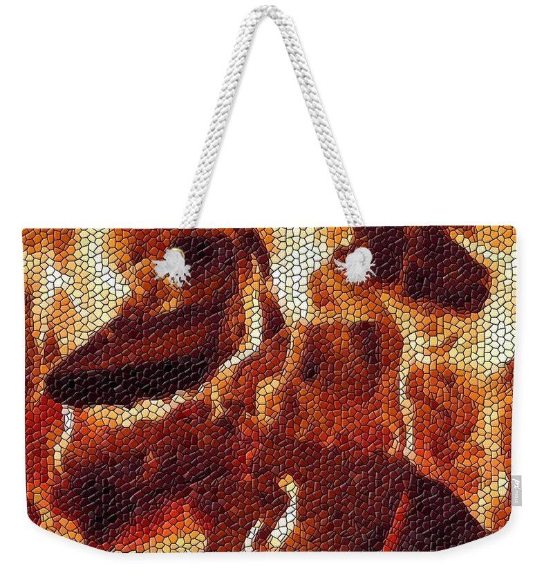 Wood Weekender Tote Bag featuring the digital art Wood Fire Mosaic by Tim Allen