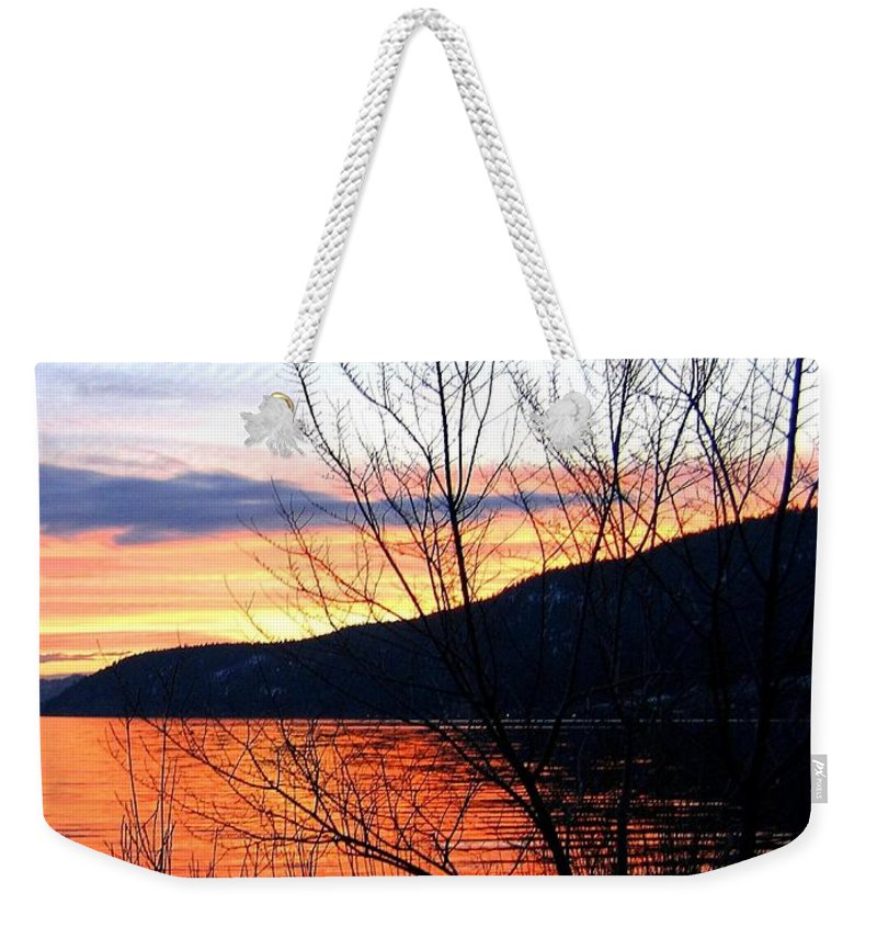 Sunset Weekender Tote Bag featuring the photograph Wood Lake Sunset by Will Borden