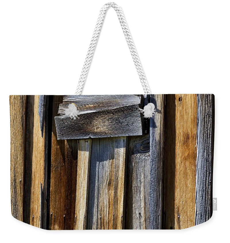 Wood Wall Weekender Tote Bag featuring the photograph Wood On Wood by Kelley King