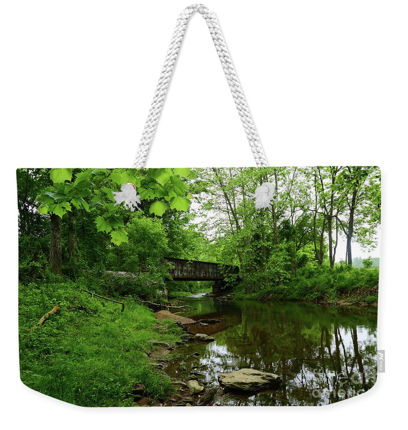 Patapsco River Weekender Tote Bag featuring the photograph Wooded Valley Of The Patapsco River North Branch Maryland by James Brunker