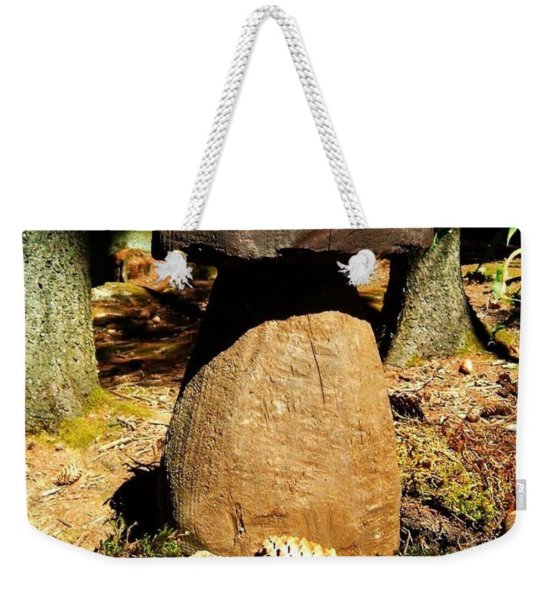 Mushroom Weekender Tote Bag featuring the photograph Wooden Art by Juergen Weiss