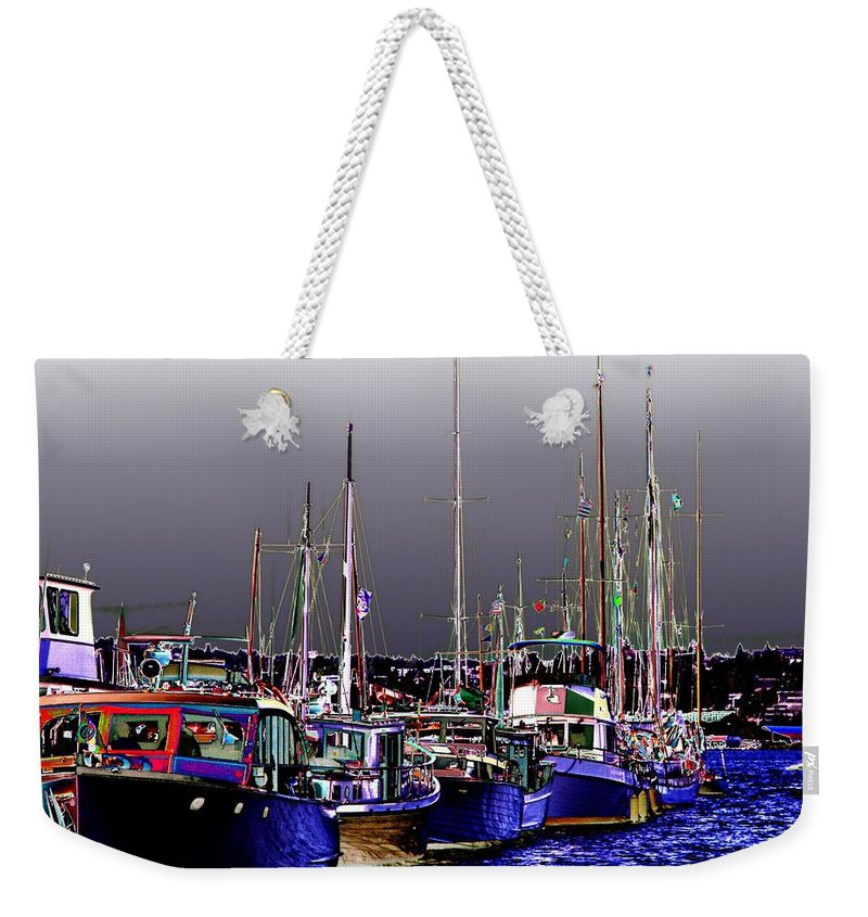 Seattle Weekender Tote Bag featuring the digital art Wooden Boats 2 by Tim Allen
