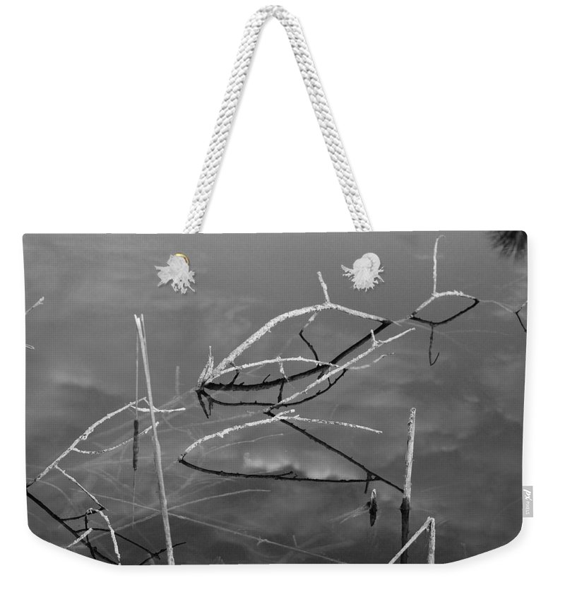 Black And White Weekender Tote Bag featuring the photograph Wooden Bridge by Rob Hans
